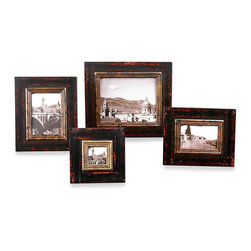 Kitra Photo Frames - Set of 4 - The blended, rich coloration of the Kitra Photo Frames provides a stunning surround for color photographs, sepia images, or black-and-white prints. The distressed black wood frames include an inner lip of antiqued gold that lends a delicate dash of glamour. Available as a set of four, the frames create a dramatic personal galley when placed upon a side table, accent shelf, or sideboard.