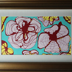 Christine Migala - Big Flowers - Framed original painting. Abstract flower