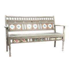 Weathered Tile and Teak Bench - $850 Est. Retail - $300 on Chairish.com -