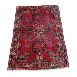 3'6 x 5 Antique Sarouk Rug - A Sarouk Rug is a type of Persian Rug from province of Arak in Iran.  Sarouk rugs have been produced for much of the last century. The early successes of the Sarouk rug are largely owed to the American market. From the 1910s to 1950s, the �American Sarouk� also known as the �Painted Sarouk� was produced. American customers had an affinity for the Sarouk�s curvilinear and floral designs. What they did not appreciate, however, was the color, so for much of the 1920s, 30s and 40s, rugs exported from Iran would get a dye job to a desirable, deep, raspberry-red color, once they made it to the States.