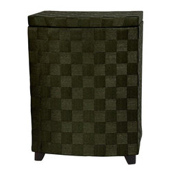 "Oriental Furniture - 27"" Natural Fiber Laundry Hamper - Black - A fine quality laundry hamper crafted with a cross woven natural plant fiber exterior. The spun plant fiber cord is durable, light weight, and holds color dyes beautifully. This hamper has a hinged lid, and is a great size for collecting clothes in the bedroom or bath. Although much of America now relies on a plastic clothes baskets, there was a time when a rattan clothes hamper was in practically every bath room in this country. Magically turning a plastic laundry basket into a beautiful, richly colored decorative accent."