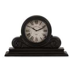 iMax - iMax Black Mantle Clock X-03161 - Traditional black wood mantel clock with white face and roman numerals
