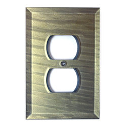 Glass Outlet Cover - Deep Opal - Beveled glass duplex outlet cover in slate gray blue green is available in multiple configurations. It's a perfect accent  for glass tiles and back splashes in kitchens and bathrooms.