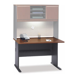 Bush Business - 48 in. Straight Desk in Hansen Cherry - Serie - Consider our gracefully styled 48 inch Straight Desk in Hansen Cherry when looking for space to set up your books or a workstation for your PC.  It can accommodate a an overhead privacy hutch along with a sliding keyboard shelf, and/or pencil drawer. * Diamond Coat� top surface is impervious t stains and scratches. Molded feet w  steel inserts and levelers. Top and leg wire access/concealment. More leg room with C-leg design. PVC edge banding. Hansen Cherry finish. 47.48 in. W x 26.811 in. D x 29.764 in. H
