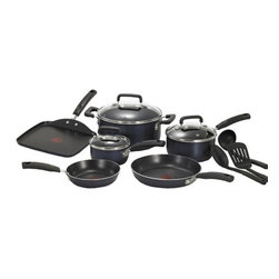 "T-fal - Signature Stainless Steel 12-Piece Cookware Set - Includes: 8'' and 11'' frying pans, 10.25'' square griddle, 1 and 2 qt covered sauce pans, 5 qt covered dutch oven, 2 spatulas and a solid spoon Features: -Stainless steel disc base.-Non-stick exterior.-Even heat base.-Venting tempered glass lids.-Dishwasher safe.-Collection: Signature.-Distressed: No.-Powder Coated Finish: Yes.-Gloss Finish: Yes.-Material: Aluminum.-Base Material: Aluminum.-Number of Items Included: 12.-Non Toxic: Yes.-Scratch Resistant: Yes.-Rust Resistant: Yes.-Warp Resistant: Yes.-Chip Resistant: Yes.-Tarnish Resistant: Yes.-Stain Resistant: Yes.-Peel Resistant: Yes.-Nonreactive: No.-Non-Stick Surface: Yes.-Oven Safe: Yes.-Freezer Safe: No.-Microwave Safe: No.-Dishwasher Safe: Yes.-Maximum Temperature: 350 degrees.-Stove Safe: Yes -Stove Type Compatability: Gas;Electric;Glass..-Lids Included: Yes -Number of Lids: 3.-Lid Handle: Yes.-Lid Material: Glass.-Heat Resistant Lids: 350 degrees.-Air Vents: Yes..-Handles: Yes -Handle Material: Silicon.-Handle Finish: Black.-Non-Slip Handle: Yes.-Heat Resistant Handles: 350 degrees..-Nesting: Yes.-Outdoor Use: No.-Pouring Rims: No.-Hanging: Yes.-Commercial Use: Yes.-Recycled Content: No.-Eco-Friendly: No.Specifications: -PTFE Free: Yes.-PFOA Free: Yes.Dimensions: -Skillets Overall Width - Side to Side: 10.25"".-Skillets Overall Depth - Front to Back: 10.25"".-Overall Product Weight: 15 lbs.Assembly: -Assembly Required: No.Warranty: -Limited lifetime warranty."