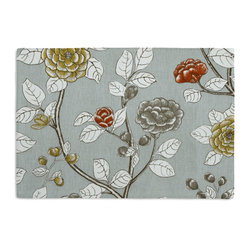 Aqua Sketched Floral Custom Placemat Set - Is your table looking sad and lonely? Give it a boost with at set of Simple Placemats. Customizable in hundreds of fabrics, yo