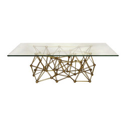 """Worlds Away - Worlds Away Gold Leaf Iron Coffee Table MOLECULE CFG60 - Gold leaf iron coffee table base with 36"""" x 60"""" glass top. Glass is 3/8"""" thick with simple radial edge."""