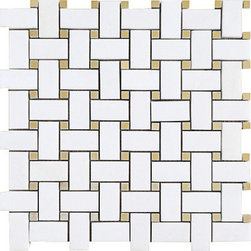 Thassos White & Golden Onyx Polished 12x12 Basketweave Onyx Mosaics - Thassos White & Golden Onyx Polished 12×12 Basketweave Onyx Mosaics