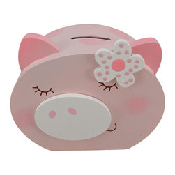 Incredibly Cute Pink Pig Face Piggy Bank - This adorable pink pig face piggy bank, is a great gift for your little girl. The bank measures 6 inches tall, 6 inches wide and 2 3/4 inches deep. It empties via a sliding plastic piece on the bottom. It is hand-painted, and is a perfect gift for the holidays or for birthdays.