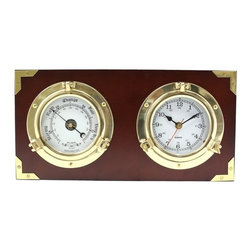 Bey-Berk - Bey-Berk Porthole Clock & Barometer on Teak Wood Multicolor - SQB525 - Shop for Clocks from Hayneedle.com! Framed with gorgeous teak the Bey-Berk Porthole Clock & Barometer on Teak Wood features a barometer and two porthole quartz clock faces that display an analog and weather station. Gold accents and an old world feel finishes this beautiful-piece. Clock also includes one AA battery.About Bey-Berk InternationalBey-Berk International was founded in 1981. This company offers innovative products for the home and office. They continually develop premium products using superior craftsmanship. Today they offer a wide variety of products. With Bey-Berk you can always find the perfect item to complete a professional office delight an interior design buff and perfectly outfit a man cave. Bey-Berk offers personal and travel accessories jewelry boxes bar games cigar accessories bookends sculptures desk accessories picture frames clocks and so much more -- all of the highest quality.