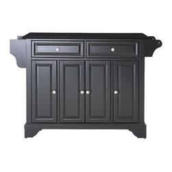 Crosley - LaFayette Solid Black Granite Top Kitchen Island in Black Finish - Constructed of Solid Hardwood and wood veneers, this kitchen island is designed for longevity. The Beautiful raised panel doors and drawer fronts provide the ultimate in style to dress up your kitchen. Two deep drawers are great for anything from utensils to storage containers. Behind the four doors, you will find adjustable shelves and an abundance of storage space for things that you prefer to be out of sight. Style, function, and quality make this kitchen island a wise addition to your home.