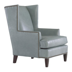Kalinda's Chair in leather - This wingback marries pale gray leather and perfect styling. I'm in love.