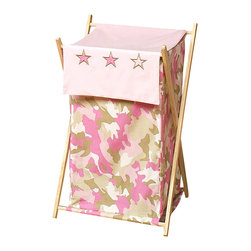 """Sweet Jojo Designs - Pink Camouflage Hamper - The Pink Camouflage Hamper by Sweet Jojo Designs will add a designers touch to any childs room. This childrens laundry clothes hamper has a wooden frame, mesh liner, and a fabric cover.The removable hamper body is secured to the wooden frame with corner loops and Velcro. The wooden stand folds flat for space-saving storage and the removable mesh liner is great for toting laundry.Dimensions: 15.5"""" Length x 16"""" Width x 26.5"""" Height.If you like the Pink Camouflage Hamper Hamper, dont forget to check out the other items in the collection."""