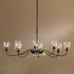 Antique LOFT Class Glass Shades and Iron Art Chandelier - Antique LOFT Class Glass Shades and Iron Art Chandelier