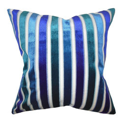 "The Pillow Collection - Alton Stripes Pillow Ultramarine 18"" x 18"" - Finished with beautiful shades of blue, this indoor pillow offers a modern touch to your interiors. Inspired with the classic stripe pattern, this accent pillow adds a sophisticated twist to your living room, bedroom or lounge area. Pair this bold-hued square pillow with solids and other patterns for an exquisite decor style. Hidden zipper closure for easy cover removal.  Knife edge finish on all four sides.  Reversible pillow with the same fabric on the back side.  Spot cleaning suggested."