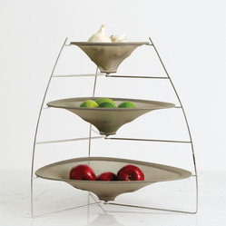 Chilewich - Chilewich Three-Tier RAYTray - Unexpected grace. This delightfully engineered structure of metal and mesh netting will make light work of whatever fruit, vegetables or collectibles you keep on hand. The RAYTray is nothing short of a small miracle of design.