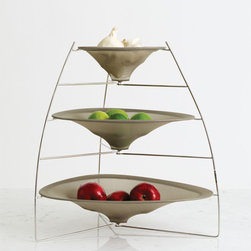 Chilewich - Chilewich Three Tier RAYTray - Smoke - Unexpected grace. This delightfully engineered structure of metal and mesh netting will make light work of whatever fruit, vegetables or collectibles you keep on hand. The RAYTray is nothing short of a small miracle of design.