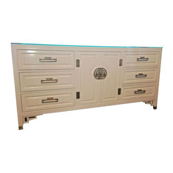 SOLD OUT! Lacquered White Asian Inspired Cabinet - $2,300 Est. Retail - $2,035 o -