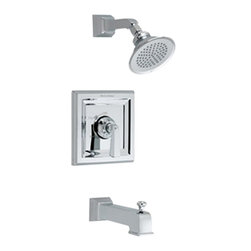 "American Standard - American Standard T555.502.002 Town Square Bath/Shower Trim Kit, Chrome - American Standard T555.502.002 Town Square Bath/Shower Trim Kit , Polished Chrome. This Bath and Shower Trim Kit comes with a single metal lever handle, metal wall escutcheon, cast brass shower arm, cast brass diverter tub spout with I.P.S. connection, and a 4 1/2"" rain showerhead"