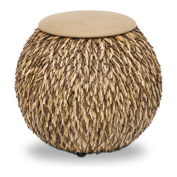 Coco Feather Hassock - National Geographic Home Collection. Individually cut coco pieces sewn together on metal framed hassock.