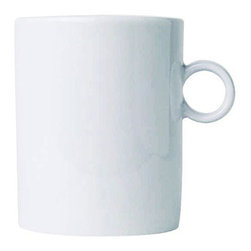 Alessi Dinnerware - Alessi Dinnerware Bavero Mug - Mug. The Bavero porcelain set is another superb specimen of Castiglioni's work. This project draws its raison d'être from what the architect was referring to as the principal design element, in other words the key project idea that the designer must seize, the intuition at the start of any job: in this case, it's a simple (but highly significant, not to say bold) design move, folding the edges of the plates downwards. Manufactured by Alessi. Designed in 1997.