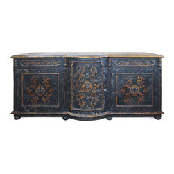 Koenig Collection - Old World Traditional King Lima Sideboard, Distressed Black Baroque - Old World Traditional King Lima Sideboard
