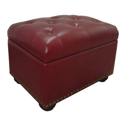 Duke Storage Ottoman, Wine - The Duke Tufted Storage Ottoman is comfortable enough for extra seating but is perfect for putting your feet up after a long day.  Functional, stylish and sturdy, the wood frame is upholstered in tufted faux leather with nail head trim encircling the bottom and resting on bun-style feet. The lined interior has loads of storage space for extra pillows, throws and TV viewing essentials. The top closes gently on a safety-glide hinge.