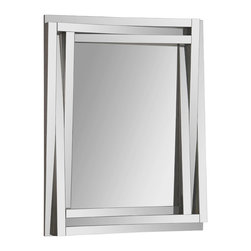"""Ren-Wil - Ren-Wil MT1247 Portrait Delaney in All Glass - This contemporary design features a dimensional beveled-mirror """"step"""" frame that is staggered around the beveled center mirror."""