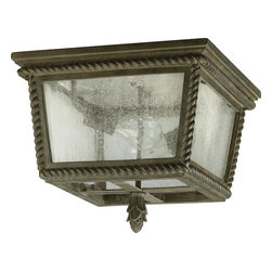 Joshua Marshal - Two Light Etruscan Sienna Clear Glass Outdoor Flush Mount - Two Light Etruscan Sienna Clear Glass Outdoor Flush Mount