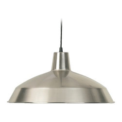 Quorum Lighting Satin Nickel Pendant Light with Bowl / Dome Shade -
