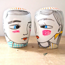 Boy & Girl Ceramic Salt and Pepper Shakers by Jess Quinn Small Art