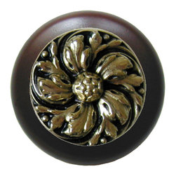 """Inviting Home - Chrysanthemum Walnut Wood Knob (bright brass) - Chrysanthemum Walnut Wood Knob with hand-cast bright brass insert; 1-1/2"""" diameter Product Specification: Made in the USA. Fine-art foundry hand-pours and hand finished hardware knobs and pulls using Old World methods. Lifetime guaranteed against flaws in craftsmanship. Exceptional clarity of details and depth of relief. All knobs and pulls are hand cast from solid fine pewter or solid bronze. The term antique refers to special methods of treating metal so there is contrast between relief and recessed areas. Knobs and Pulls are lacquered to protect the finish. Alternate finishes are available."""