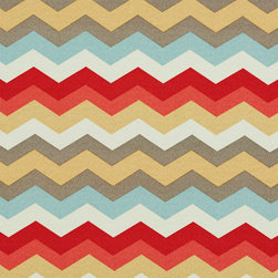 Red Blue Pink Gold and Grey Chevron Outdoor Indoor Upholstery Fabric By The Yard - This upholstery fabric suitable for indoor and outdoor applications. The fabric is water, soil, mildew and fading resistant. It is also Scotchgarded for further protection. It is cleanable with warm water and soap. Uniquely Made in America!
