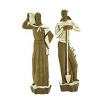 "Consigned Vintage Phoenix Pottery Art Deco Figure Pair - Pair of 1930s Art Deco Geza DeVegh ceramic figures for the Phoenix Pottery Co. Executed in a rich brown matte finish and a gloss white glaze. Each, 20""H. Both marked ""Phoenix"" at the base."