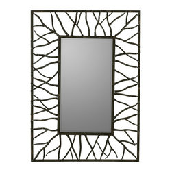 """Cooper Classics - Kincourt Glossy Black Oval Mirror - Aged Brown Finish with Rust Highlights; Beveled Mirror Frame Dimensions: 31""""W X 43""""H X 2""""D; Mirror Dimensions: 14.5""""W X 26.25""""H; Finish: Aged Brown with Rust Highlights; Material: Metal; Beveled: Yes; Shape: Rectangular; Weight: 20; Included: Brackets, Ready to Hang Vertically or Horizontally"""