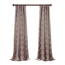 Exclusive Fabrics & Furnishings, LLC - Surrey Smoke Jacquard Curtain - Deliciously rich, these curtains will give your room a mini-makeover. Toss in a few accessories like a multicolor rug and finish with a few accent pillows. That is a quick, inexpensive makeover.