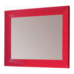 "Viena 55"" 1/4 mirror wall. Red. - Viena 55"" 1/4 framed mirror. Red."