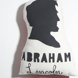 Abraham Lincoln Pillow - Give your child a history lesson while making them giggle in the meantime. This tongue-in-cheek handmade pillow will add a fun finishing touch to any child's bed. Completely made in Austin, Texas, the pillow has been individually hand printed on muslin before sewn together, backed with a lightweight red canvas.