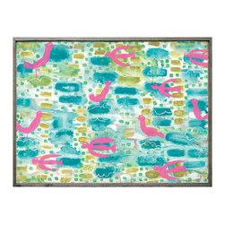 Kathy Kuo Home - Turquoise Pink Abstract Floating Birds Vintage Wood Wall Art - Small - Childlike whimsy and bold color create a stunning abstract art piece for your kitchen, bath or kids' room. Primitive pink birds float and fly on fluffy clouds, setting your imagination similarly alight. Each piece is a high-quality reproduction of the original, hand-framed with reclaimed wood.