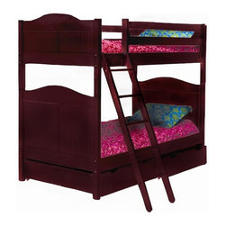 Bolton Furniture - Cottage Twin over Twin Bunk Bed in Cherry Finish - Includes 2 headboards, 2 footboards, 2 birch siderail set, ladder and safety rail set. Optional under bed storage priced separately. Bunk bed. Cherry finish. Assembly required. 1-Year warranty. 42 in. L x 79 in. W x 68 in. H. Optional under bed storages:. Storage drawers: 37 in. W x 42 in. D x 9 in. H. Trundle: 41 in. W x 74 in. D x 10 in. H. Bunk Bed Warning. Please read before purchase.. NOTE: ivgStores DOES NOT offer assembly on loft beds or bunk beds.