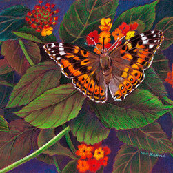 Painted Lady (Original) by Mary Ann Stafford - This kind of butterfly is attracted to my lantana bush in the late summer every year.  Its brilliant colors serve as a foil against the green leaves, yellow, orange, and red blossoms.  I had to put two photos together to get this image -- see the proboscis entering one blossom?