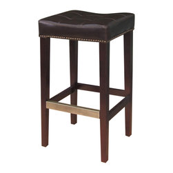 Marco Polo Imports - Mahala Barstool with Kickplate-Java - Classic wooden bar stool with elegant leather seat-cushion and a bold java finish.