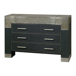Carolyn Kinder - Carolyn Kinder Razi Transitional Drawer Chest X-09242 - Supple, black faux leather finish accented by industrial silver metal sheeting with champagne stain and rivet accents. Shown with mirror #07638.