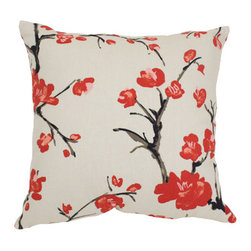 Pillow Perfect - Decorative Beige and Red Flowering Branch 18-Inch Square Toss Pillow - - Cotton-Blend Shell  - 100% Virgin Recycled Polyester Fill  - Reversible Fabric to Fabric, Sewn Seam Closure  - Spot Clean Only  - Made in USA Pillow Perfect - 441702