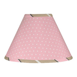 Sweet Jojo Designs - Pink & Chocolate Mod Dots Lamp Shade - Pink & Chocolate Mod Dots Lamp Shade by Sweet Jojo Designs is a beautifully designed childrens lamp shade that is made to fit small desk-sized lamp bases (base not included).  The lampshade attaches securely on the lamp's light bulb socket and the light bulb is twisted in through the opening at the top.