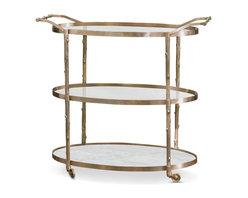 Kathy Kuo Home - Vineyard Hollywood Regency Three Shelf Brass Bar Cart - Three large shelves, two of clear glass and the bottom of solid white marble, offer ample space for serving refreshments in sophisticated style. Crafted from solid brass, the frame is cast to resemble tree branches. Four solid brass wheels and two long handles make the cart as portable as it is pretty.