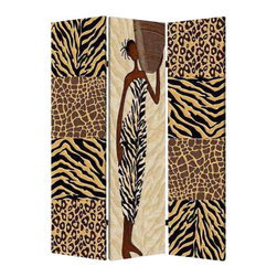 Safari Screen - Enliven your decor while creating a sense of intimacy. This three-panel screen brings two different facets of African art to your space.