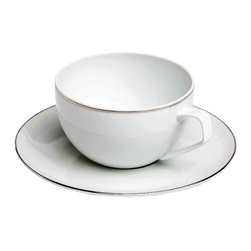 Rosenthal Studio - Platinum Filet Combi Porcelain Cup and Saucer - This collection features a platinum colored mosaic that extends all over the plate. The design takes on the theme of structure by playing with the contrast between matte and glossy surfaces. This collection will add a touch of minimalism to your table.