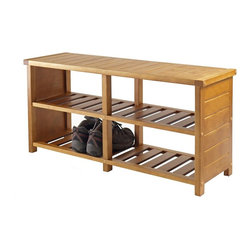 Winsome Wood - Keystone Shoe Bench - Two bottom slated shelves has four sections. Made from solid and composite wood. Teak finish. Assembly required. Shelf section: 17.15 in. W x 11 in. D x 7.2 in. H. Overall: 38.39 in. L x 11.81 in. W x 18.27 in. HOrganize your shoes in your closet, bedroom or entryway with the Keystone Shoe Bench.