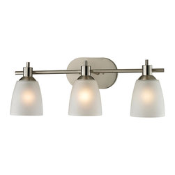 Cornerstone - Cornerstone Jackson 1303BB/20 3 Light Bath Bar in Brushed Nickel - 1303BB/20 3 Light Bath Bar in Brushed Nickel belongs to Jackson Collection by Cornerstone The Jackson Collection has exquisite detail that highlights the rich finish. This Three Light Bath Fixture is finished in Brushed Nickel with White Glass. The clean lines and timeless design gives any home an inviting appeal. Bath Bar (1)